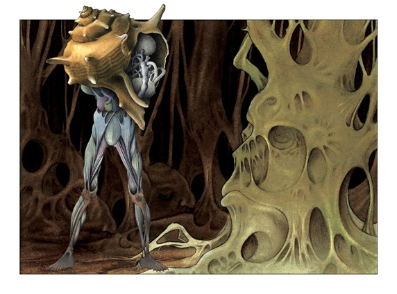 Creature with seashell over upper body in creepy forest