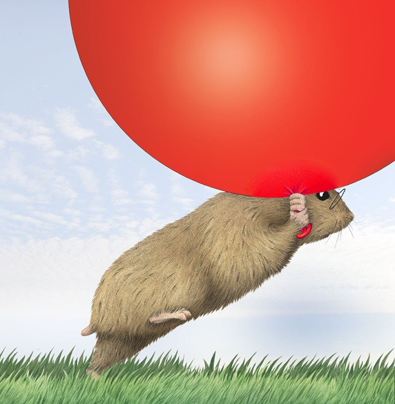 Hamster with big red balloon