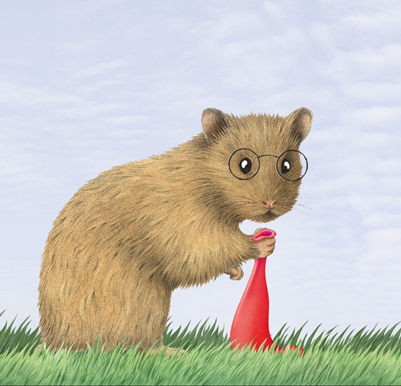 Hamster with red balloon on grass