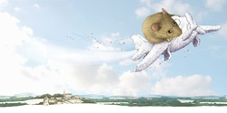 Illustration of mouse flying on plane