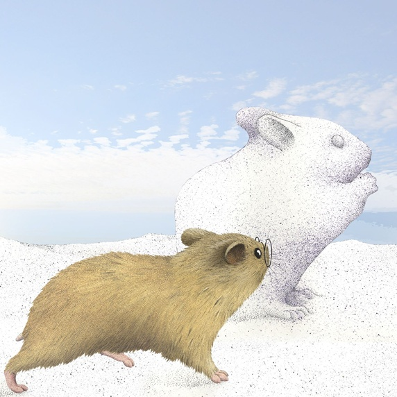 Illustration of mouse looking at sand sculpture of mouse