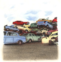 Cars in scrapyard