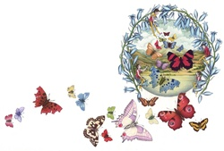 Fairies, flowers and colorful butterflies