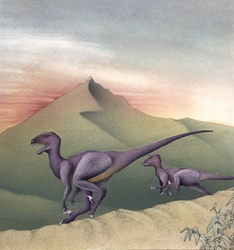 Dinosaurs running on hills