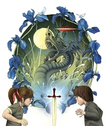 Children looking at magic sword, dragon in background