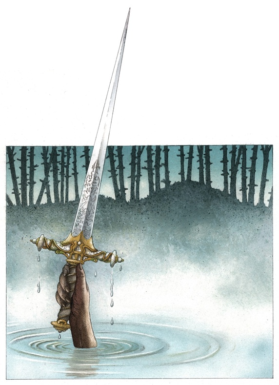 Person holding sword above water surface