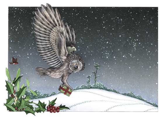 Owl carrying christmas present