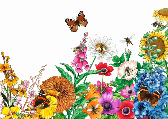 Butterflies and bees on bright multicolored garden flowers