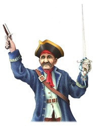 Pirate holding gun and sword