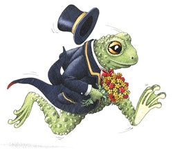 Running frog in suit