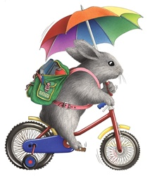 Rabbit with umbrella on bike