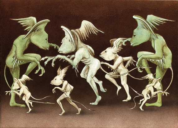 Group of dancing imps