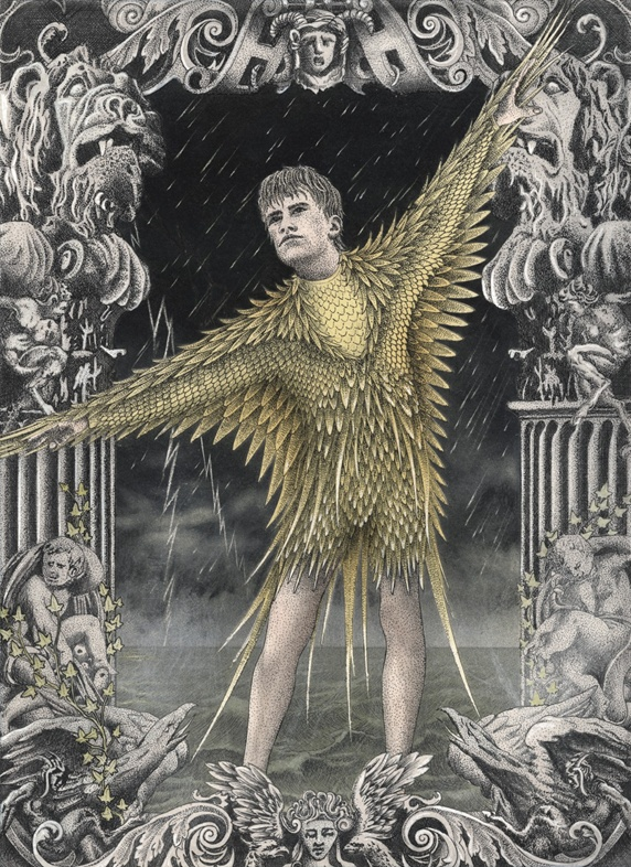 Man in golden armor with wings