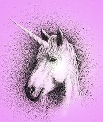 Portrait of unicorn on pink background