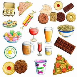 Variety of unhealthy eating food and drink
