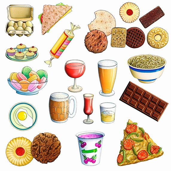 Variety of unhealthy eating food and drink Stock Images