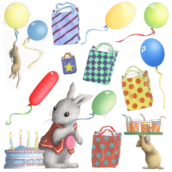 Birthday cake, mice and rabbit on white background
