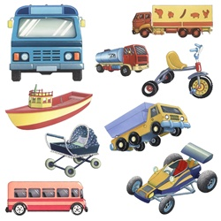 Various toys on white background