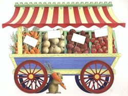 Horse cart with vegetables