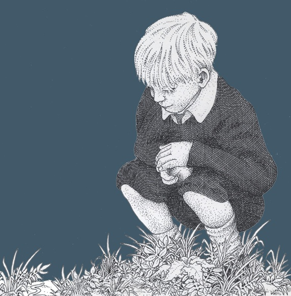 Boy with stone looking at grass