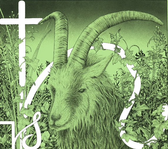 Horned goat and cross in field