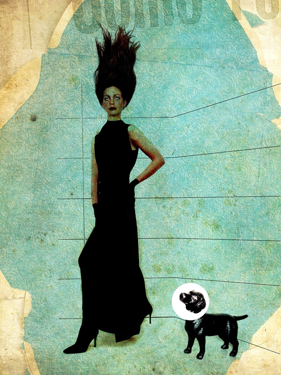Woman in black dress and dog with cone