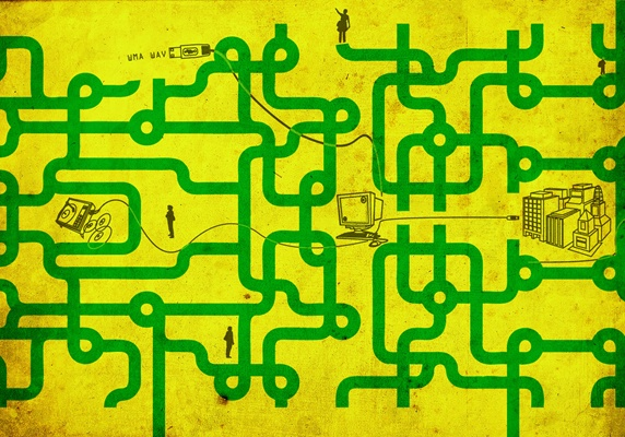 Labyrinth in form of circuit diagram