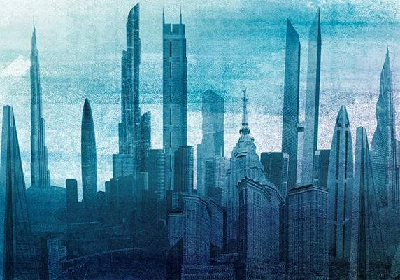 Modern cityscape skyscraper architecture Stock Images