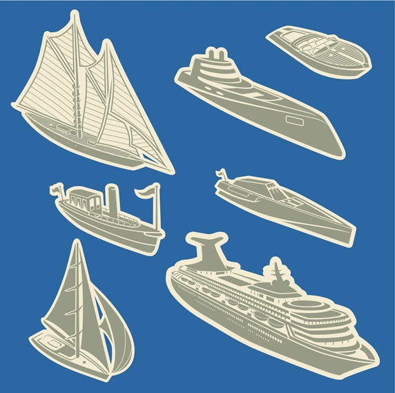 Assorted boats and ships on blue background