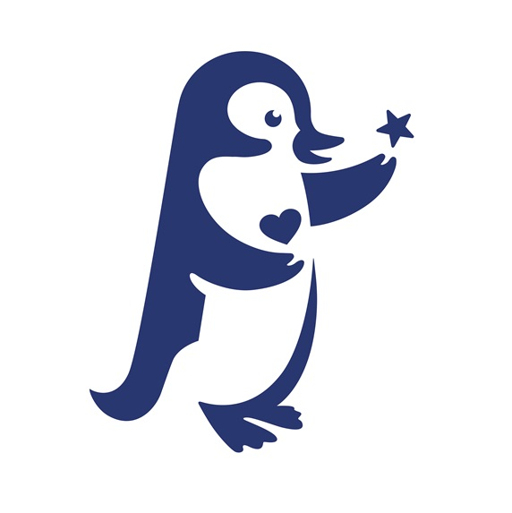 Penguin holding heart and star