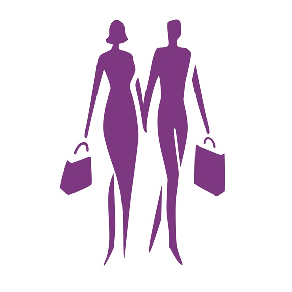 Silhouette of couple holding hands and carrying bags