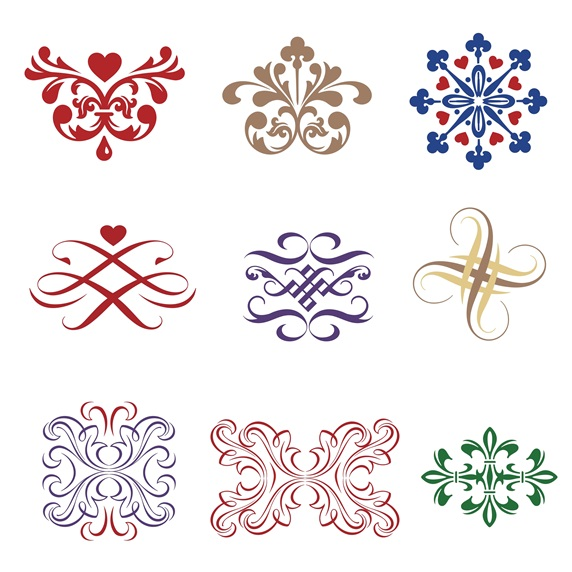 Assorted ornaments on white background