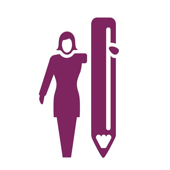 Silhouette of woman holding big pencil