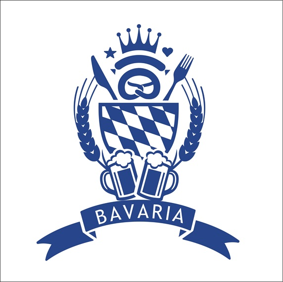 Blue Bavaria sign on white background