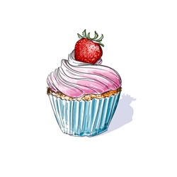 Cupcake with cream topped with strawberry on white background