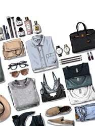Various clothes, personal accessories and cosmetics on white background