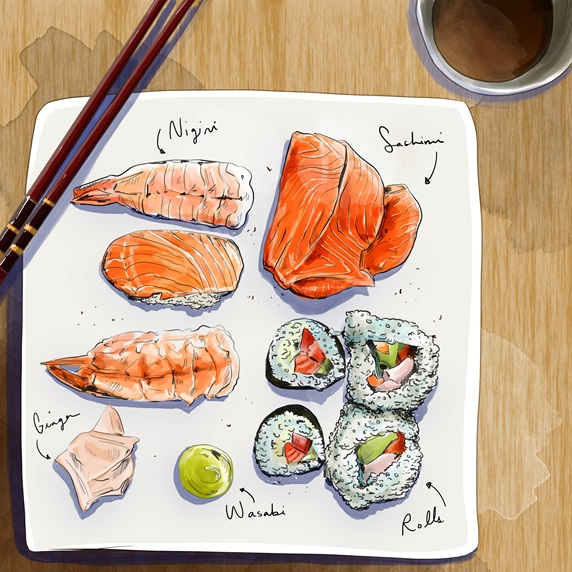 Elevated view of various sushi on square plate