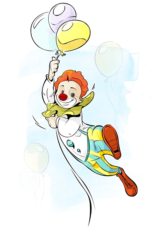 Clown flying on balloons