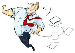Smiling man running and losing papers from stack