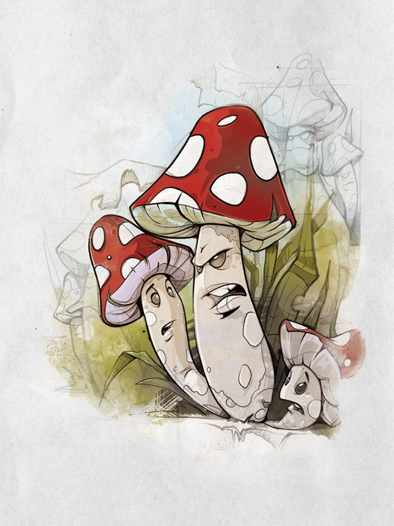 Three toadstools scheming