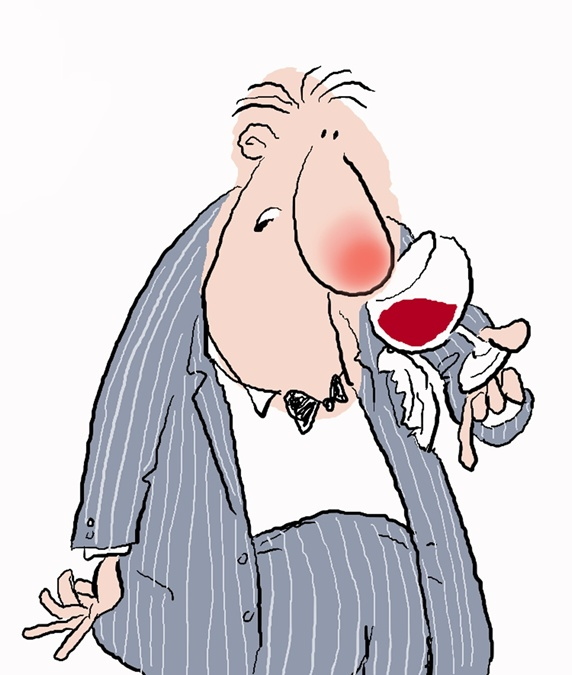 Surprised man in suit with wine glass