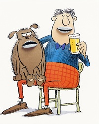 Man sitting on chair with dog on knees and drinking beer
