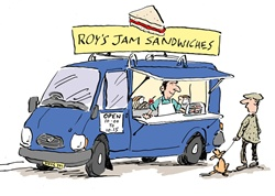 Man selling sandwiches from car and man with dog