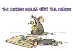 Mouse in trap and mouse eating cheese