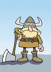 Viking with ax against blue sky