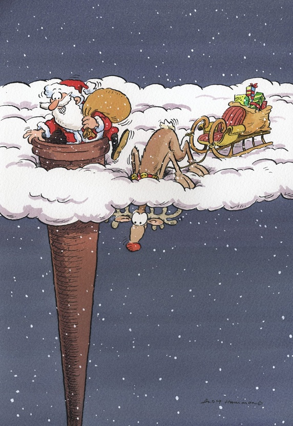 Santa Clause getting through chimney