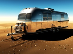 Metal trailer on desert, clear sky, digitally generated image
