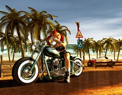 Young female on motorbike, palm trees in background