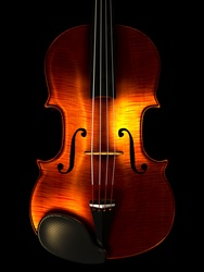 Symmetrical view of violin against black background