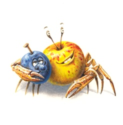 Anthropomorphic image of apple, plum and crab on white background